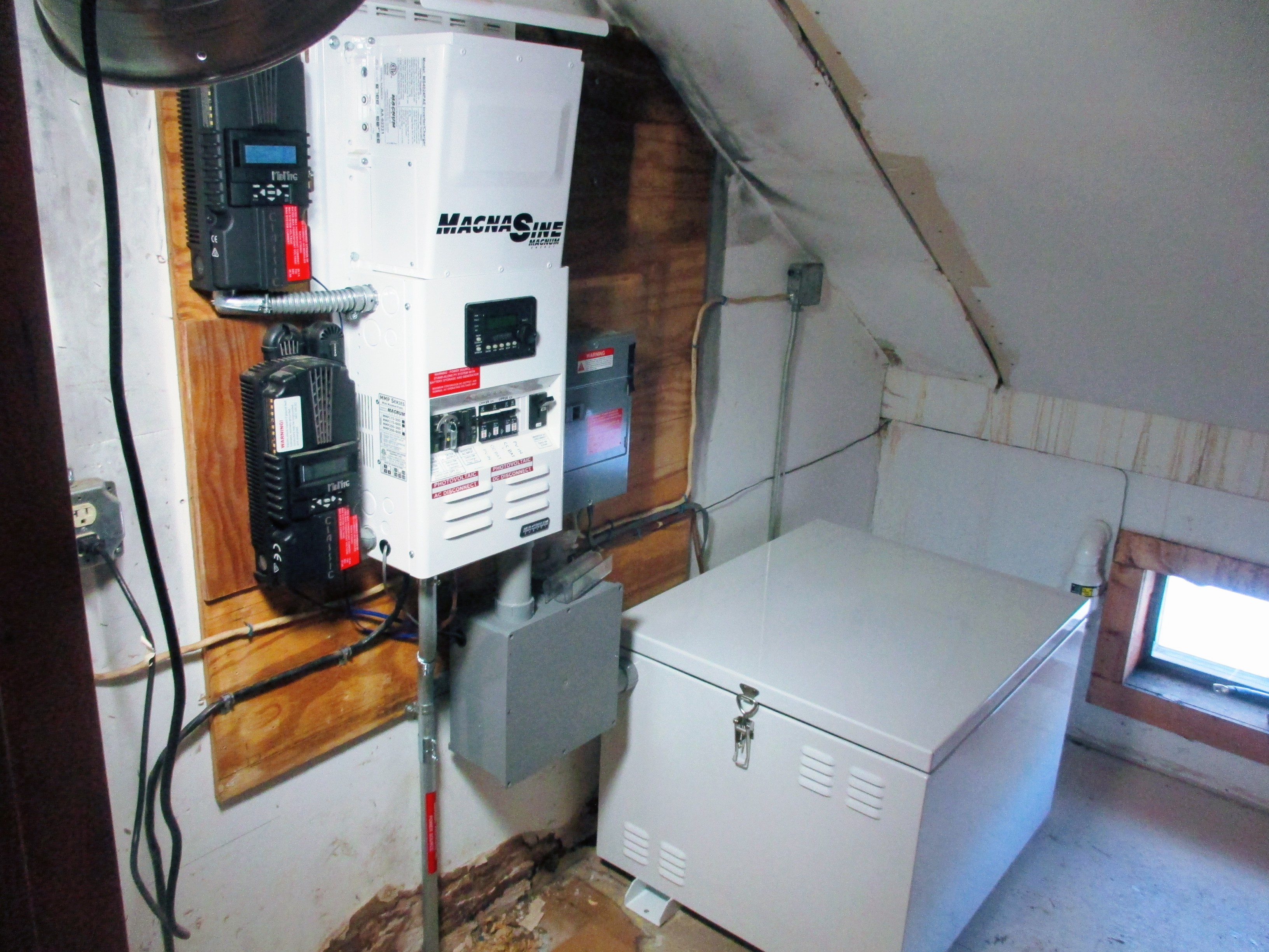 indoor components of an off-grid system